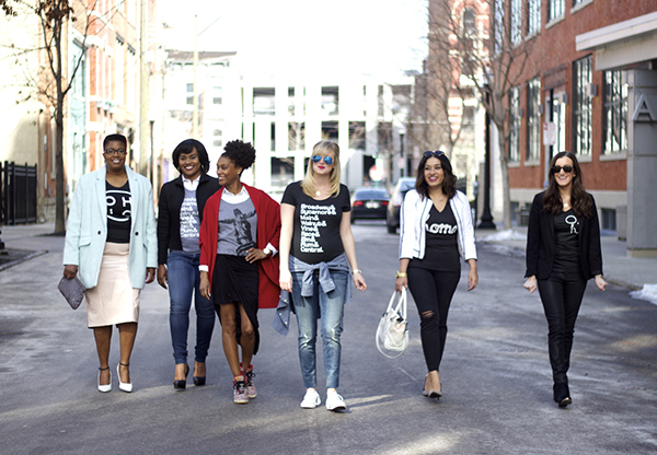 (left to right) Thread Cincinnati contributors Princess Fox with Personal Bravery; Sydney Murdock from UnCommon Stylist; Tamia Stinson from The Style Sample; Katie Holocher from OUT + OUTFIT; Preeti Chaulk, from Ninesto5; Olivia Johnson, from Baubles to Bubbles;