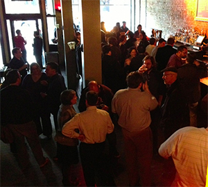 The crowd at a recent QCMerge Drinkup event