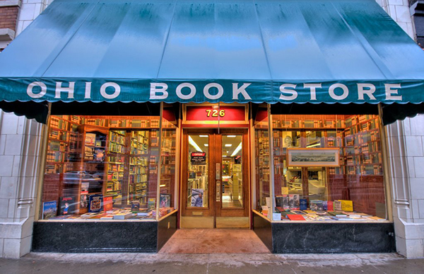 The Ohio Book Store is a five-floor bookstore that features a rare book repair department.