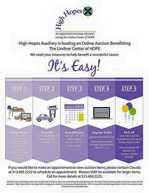 A graphic of how you can donate items to the High Hopes Auxiliary online auction through Second Story Auctions.