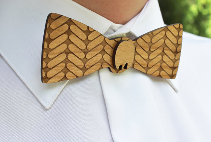 Lindsey Estes of Lucca Laser Workshop creates natural products such as bowties for weddings.