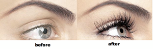 Before and After photos of a lash extension.