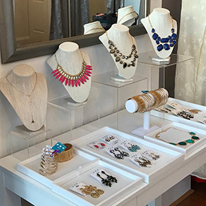 Finery Dress Boutique also has accessories to help you style your rental dress.